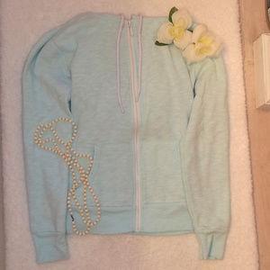 Faded Glory Teal Zip-Up Sweatshirt Size Small